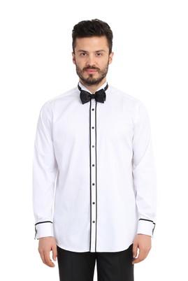 Erkek Giyim - Beyaz L Beden Ata Yaka Saten Gömlek
