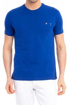 Erkek Giyim - Mavi XL Beden Bisiklet Yaka Slim Fit Süprem Tişört