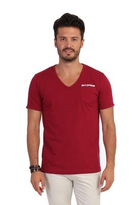 Erkek Giyim - Bordo XL Beden V Yaka Desenli Tişört
