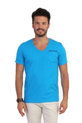 Erkek Giyim - Turkuaz L Beden V Yaka Desenli Tişört