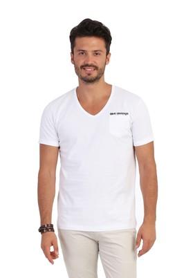 Erkek Giyim - Beyaz XXL Beden V Yaka Desenli Tişört