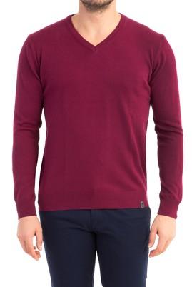 Erkek Giyim - Kırmızı XXL Beden V Yaka Regular Fit Triko Kazak