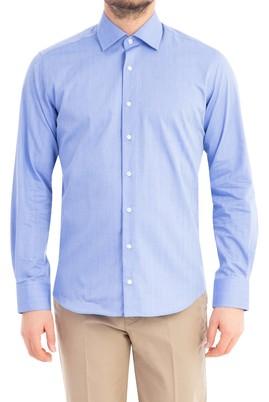 Erkek Giyim - Mavi XS Beden Uzun Kol Desenli Slim Fit Gömlek