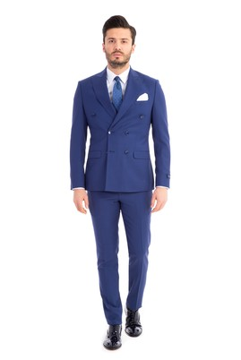Erkek Giyim - MAVİ 52 Beden Klasik Kruvaze Yünlü Takım Elbise