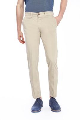 Erkek Giyim - Bej 48 Beden Slim Fit Saten Pantolon