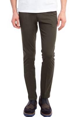 Erkek Giyim - KOYU YESİL 46 Beden Slim Fit Saten Pantolon