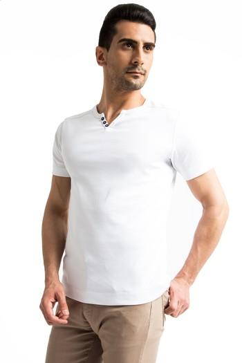 Erkek Giyim - Düğmeli Yaka Slim Fit Tişört