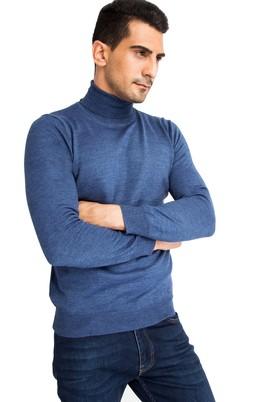 Erkek Giyim - Mavi 3X Beden Balıkçı Yaka Yünlü Triko Kazak