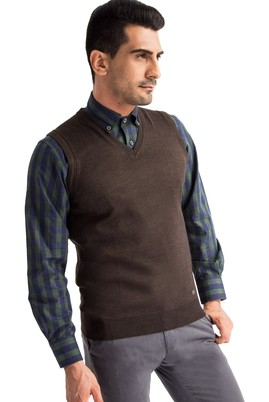 Erkek Giyim - Kahve M Beden V Yaka Yünlü Süveter