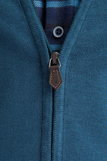 Erkek Giyim - Bato Yaka Fermuarlı Triko Hırka