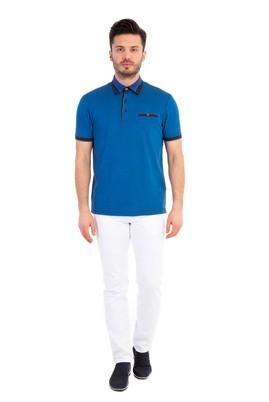 Erkek Giyim - Mavi XXL Beden Polo Yaka Desenli Tişört