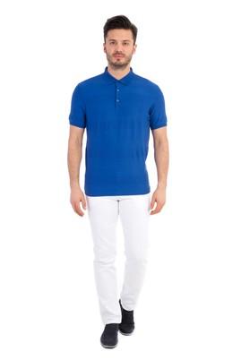 Erkek Giyim - Mavi XXL Beden Regular Fit Desenli Polo Yaka Tişört