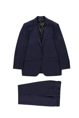 Erkek Giyim - KOYU MAVİ 56 Beden Kareli Takım Elbise