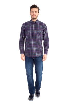 Erkek Giyim - Füme Gri M Beden Uzun Kol Oduncu Gömlek