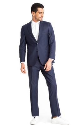 Erkek Giyim - Lacivert 50 Beden Yünlü Çizgili Takım Elbise