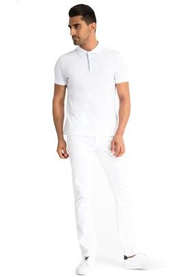 Erkek Giyim - Beyaz 50 Beden Slim Fit Kuşgözü Pantolon