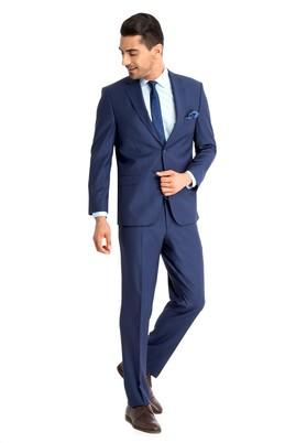 Erkek Giyim - KOYU MAVİ 50 Beden Yünlü Çizgili Takım Elbise