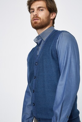 Erkek Giyim - Mavi 3X Beden Triko Yünlü Yelek
