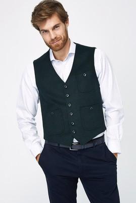 Erkek Giyim - KOYU YESİL 46 Beden Yünlü Klasik Yelek