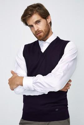 Erkek Giyim - Mor XL Beden V Yaka Yünlü Süveter
