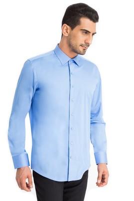 Erkek Giyim - Mavi XS Beden Uzun Kol Slim Fit Saten Gömlek