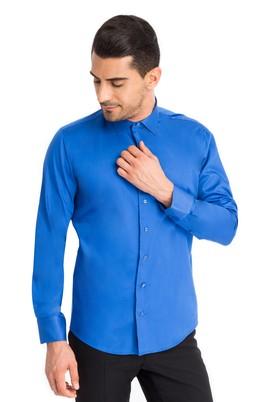 Erkek Giyim - Mavi M Beden Uzun Kol Saten Slim Fit Gömlek