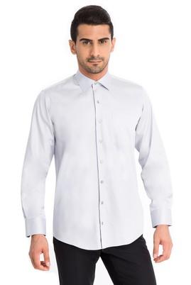 Erkek Giyim - Açık Gri L Beden Uzun Kol Klasik Saten Gömlek