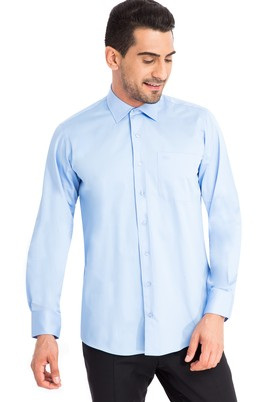 Erkek Giyim - Mavi L Beden Uzun Kol Klasik Saten Gömlek