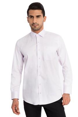 Erkek Giyim - Lila 4X Beden Uzun Kol Klasik Saten Gömlek