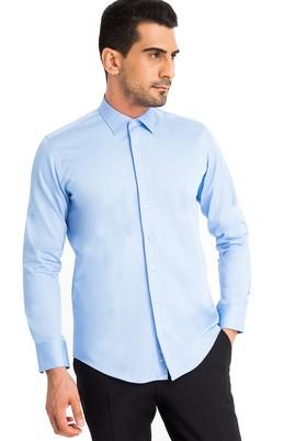 Erkek Giyim - Mavi S Beden Uzun Kol Slim Fit Saten Gömlek
