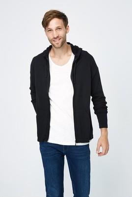 Erkek Giyim - Siyah XL Beden Kapüşonlu Slim Fit Triko Hırka
