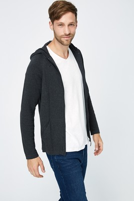 Erkek Giyim - Antrasit M Beden Kapüşonlu Slim Fit Triko Hırka