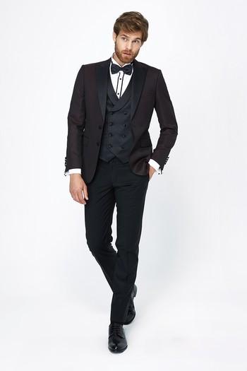Erkek Giyim - Desenli Sivri Yaka Smokin / Damatlık & Set