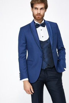 Erkek Giyim - Mavi 48 Beden Desenli Şal Yaka Smokin / Damatlık & Set