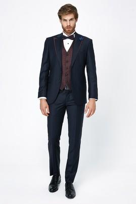 Erkek Giyim - LACİVERT 58 Beden Klasik Mono Yaka Yelekli Smokin & Damatlık