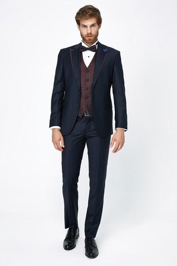 Erkek Giyim - Klasik Mono Yaka Yelekli Smokin & Damatlık