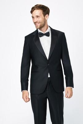 Erkek Giyim - Siyah 46 Beden Slim Fit Sivri Yaka Smokin / Damatlık