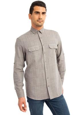 Erkek Giyim - Kahve XL Beden Uzun Kol Oduncu Desenli Gömlek