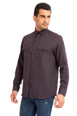 Erkek Giyim - Bordo L Beden Uzun Kol Oduncu Desenli Gömlek