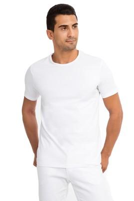 Erkek Giyim - Beyaz M Beden Bisiklet Yaka Regular Fit Tişört