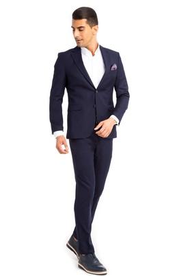 Erkek Giyim - Lacivert 48 Beden Süper Slim Fit Takım Elbise