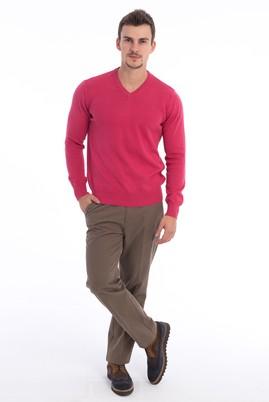 Erkek Giyim - Lila XXL Beden Klasik V Yaka Triko Kazak