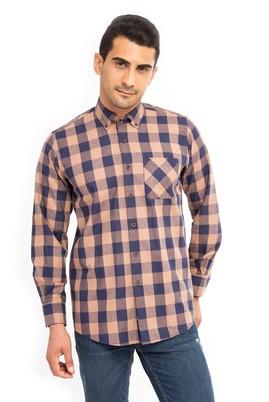 Erkek Giyim - Bej XL Beden Uzun Kol Oduncu Gömlek