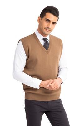 Erkek Giyim - Açık Kahve - Camel L Beden V Yaka Yünlü Triko Süveter