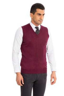 Erkek Giyim - Kırmızı XL Beden V Yaka Yünlü Süveter