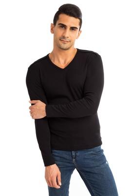 Erkek Giyim - Siyah M Beden V Yaka Slim Fit Sweatshirt
