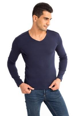 Erkek Giyim - Lacivert S Beden V Yaka Slim Fit Sweatshirt