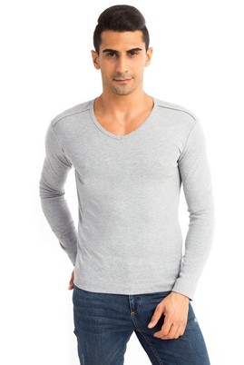 Erkek Giyim - Orta füme XL Beden V Yaka Slim Fit Sweatshirt