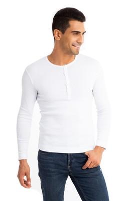 Erkek Giyim - Beyaz XL Beden Bisiklet Yaka Slim Fit Sweatshirt