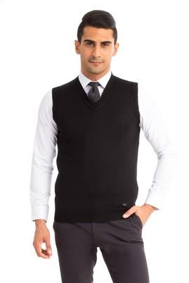 Erkek Giyim - Siyah S Beden V Yaka Yünlü Süveter